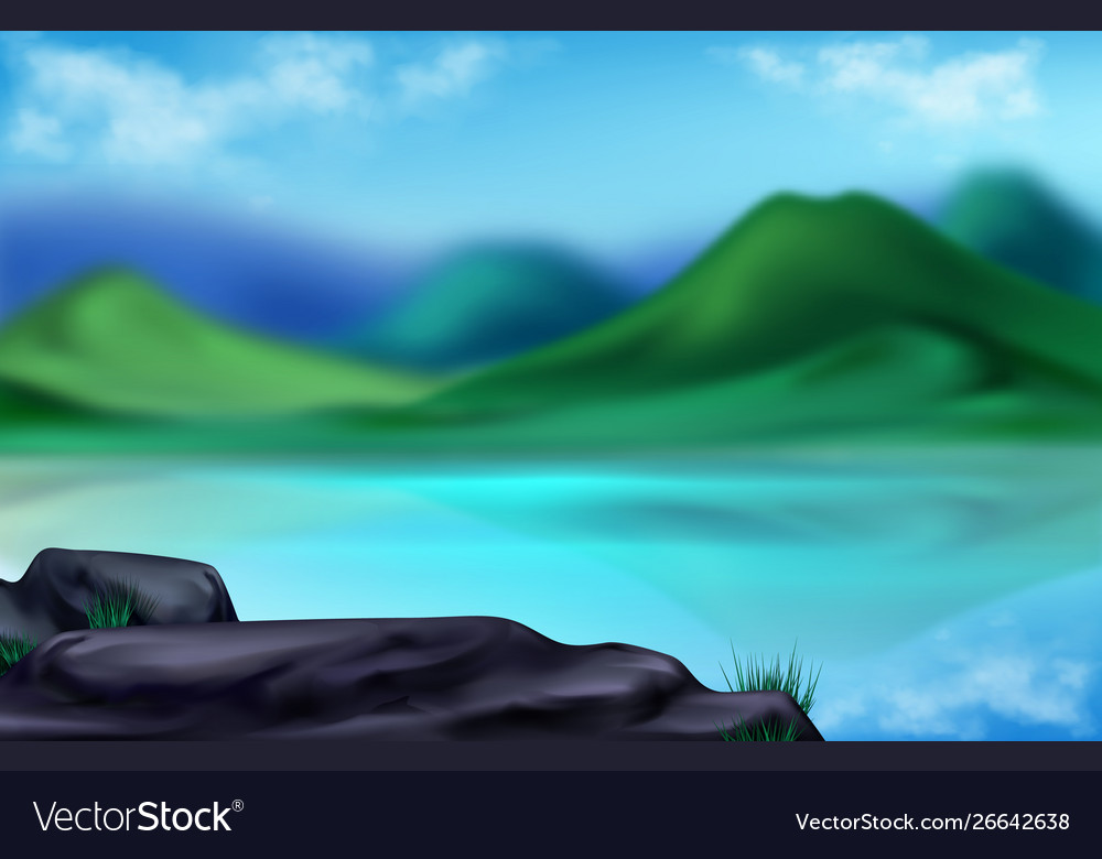 Mountain landscape summer blurred background