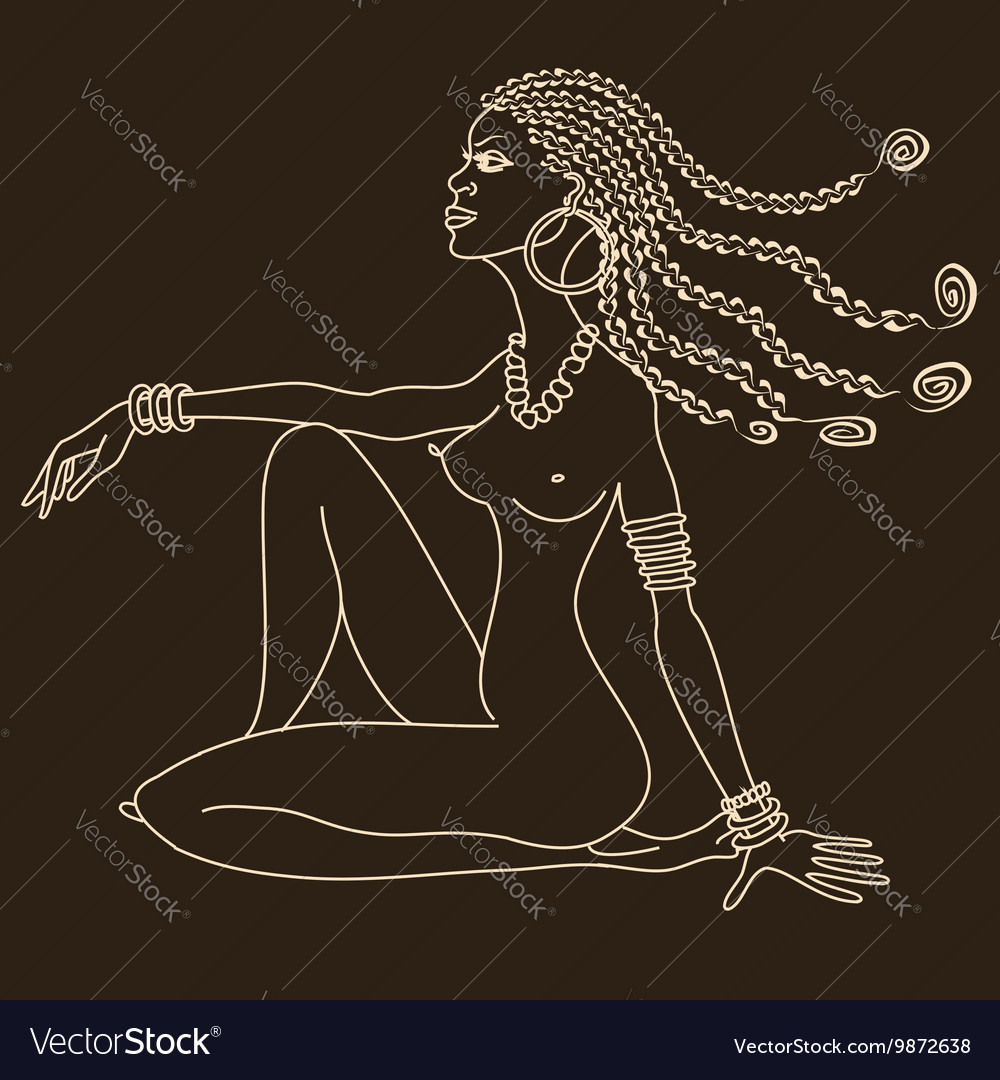 Silhouette of beautiful African tribal nude girl