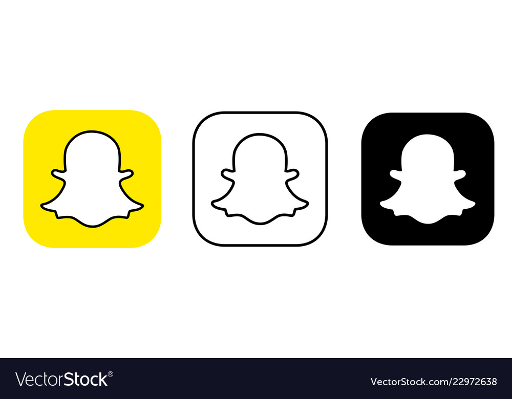 Social media icon set for snapchat in different