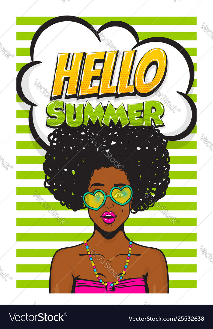 Summer time girl pop art banner