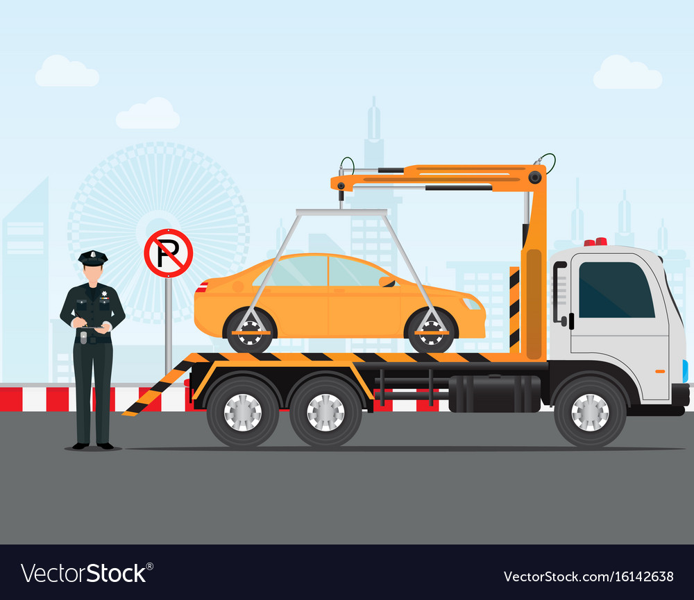Traffic policeman writing a parking ticket to car vector image