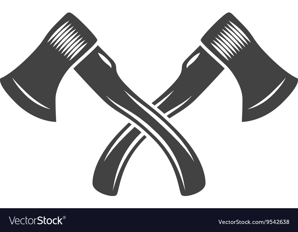 two crossed axes logo elements black and white vector image rh vectorstock com Crossed Pickaxes Axe Symbol