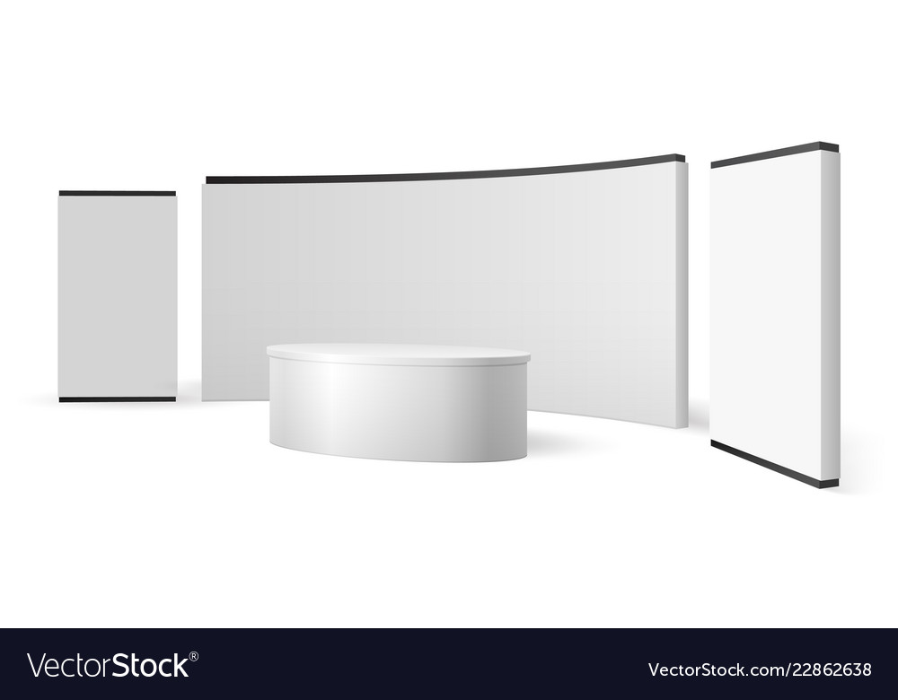 Exhibition Stand White : White exhibition stand blank trade show booth vector image