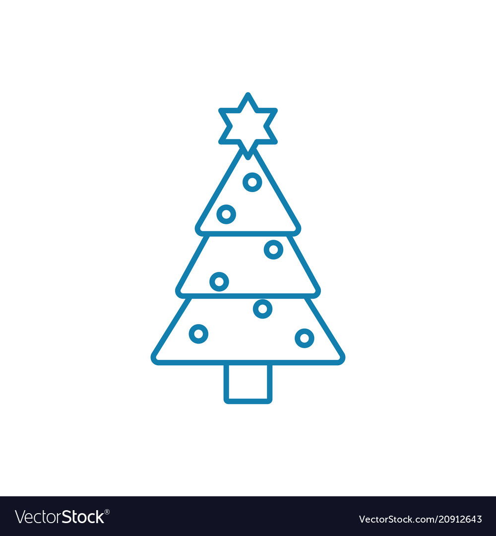 Christmas tree linear icon concept christmas tree