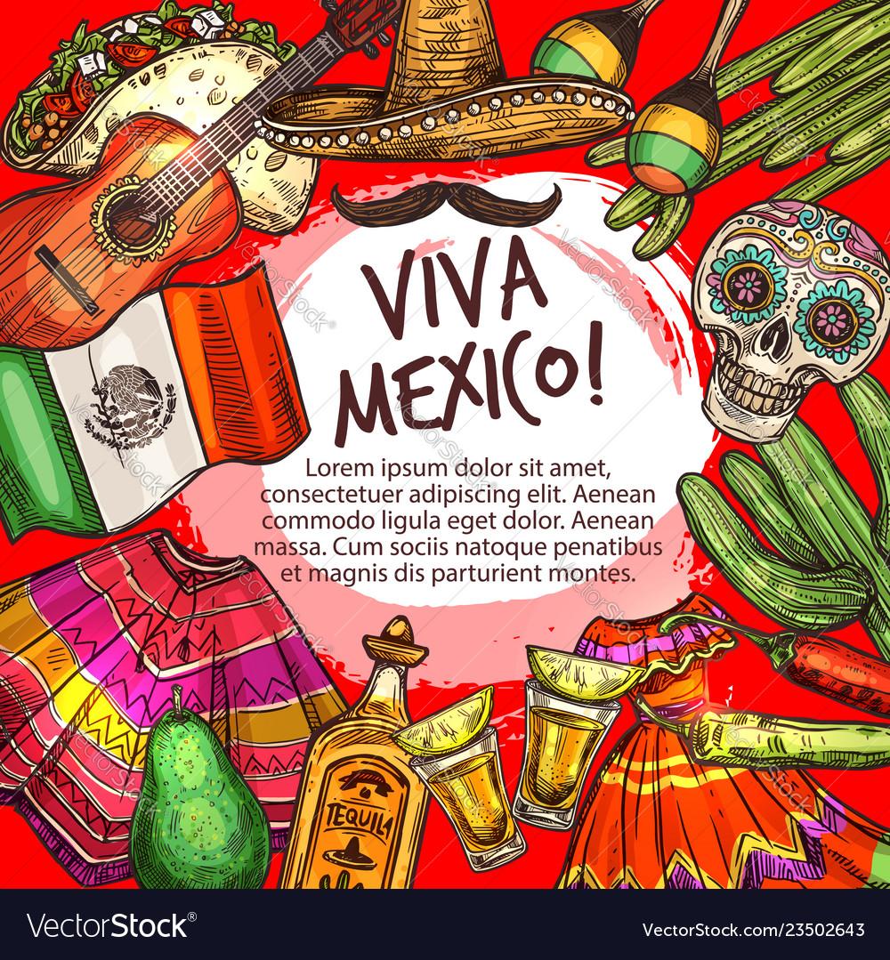 Cinco de mayo viva mexico frame national icons