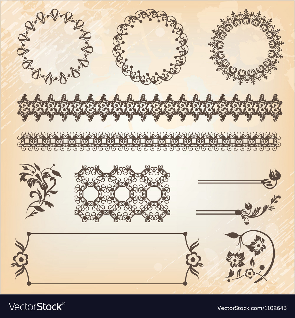 Collection of abstract floral pattern design vector image