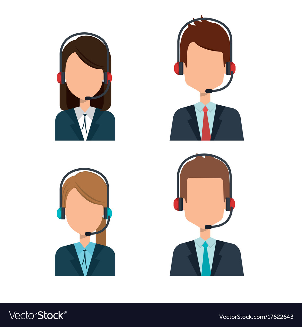 bb725c6eb7f8cc Customer service agents group Royalty Free Vector Image