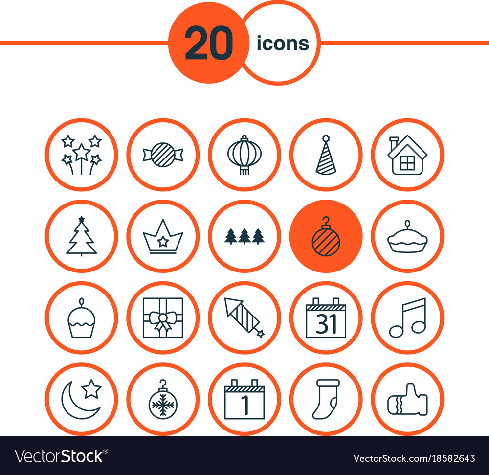 Holiday icons set includes icons such as birthday vector image