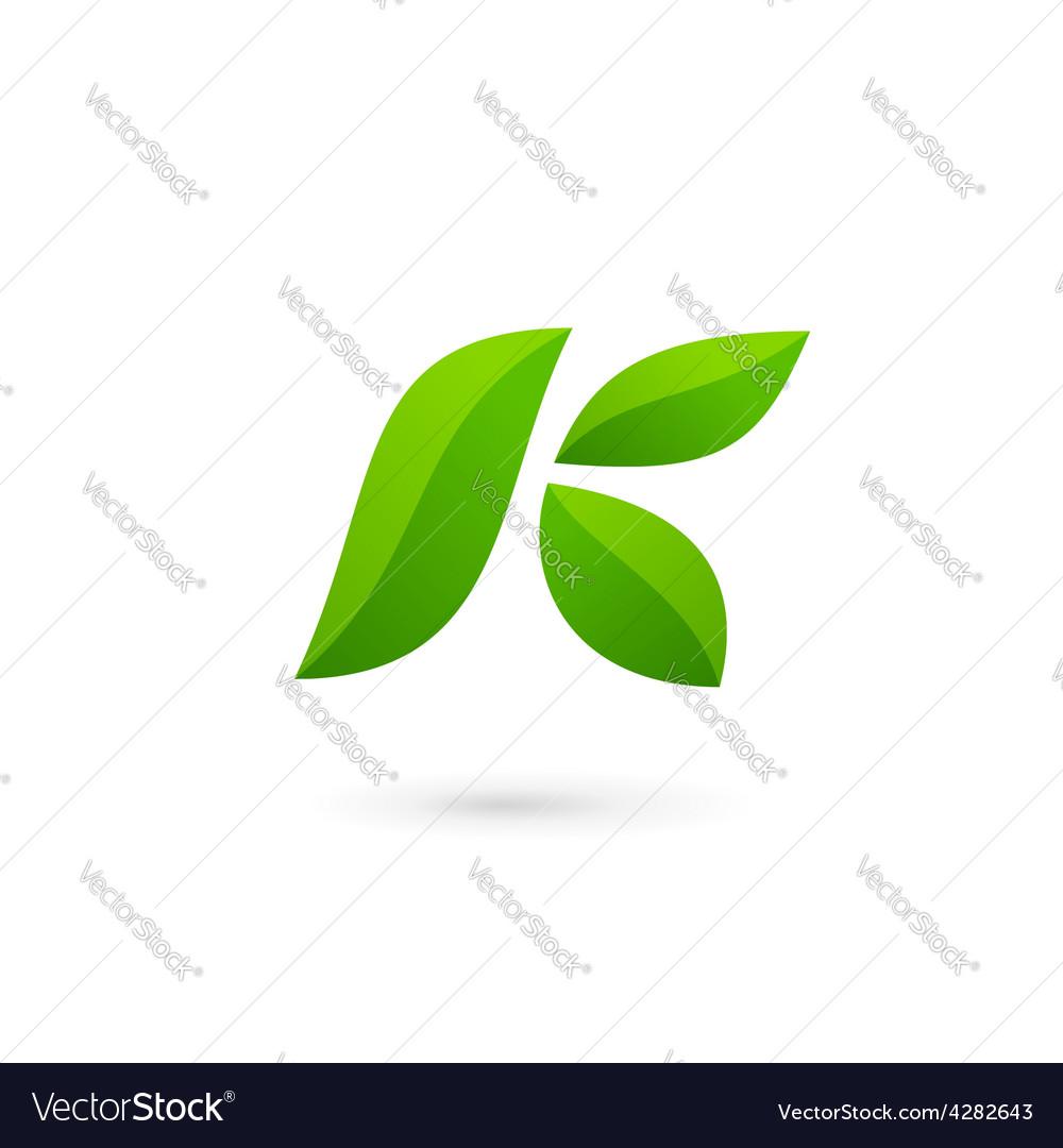 Letter K eco leaves logo icon design template