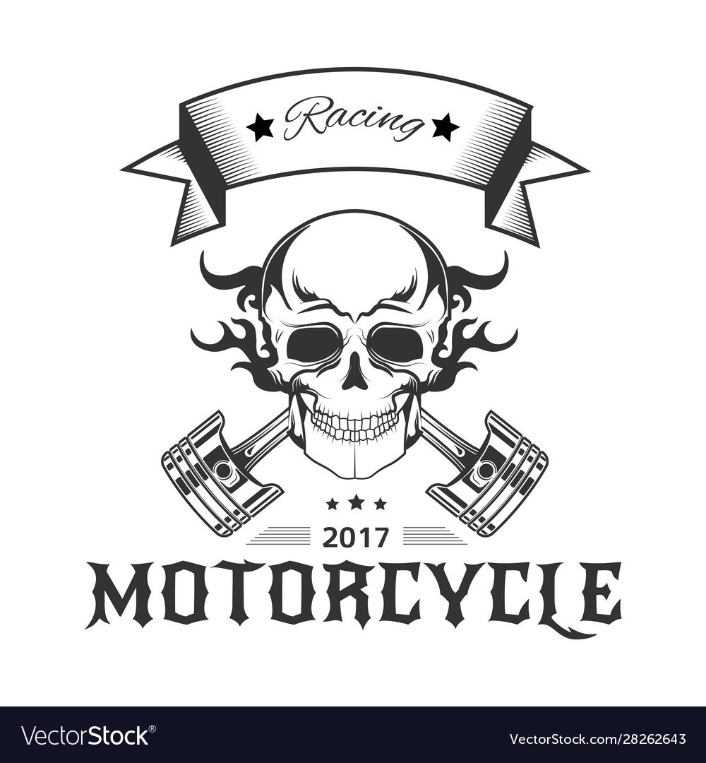 Motorcycle racing logo with skull in flames and