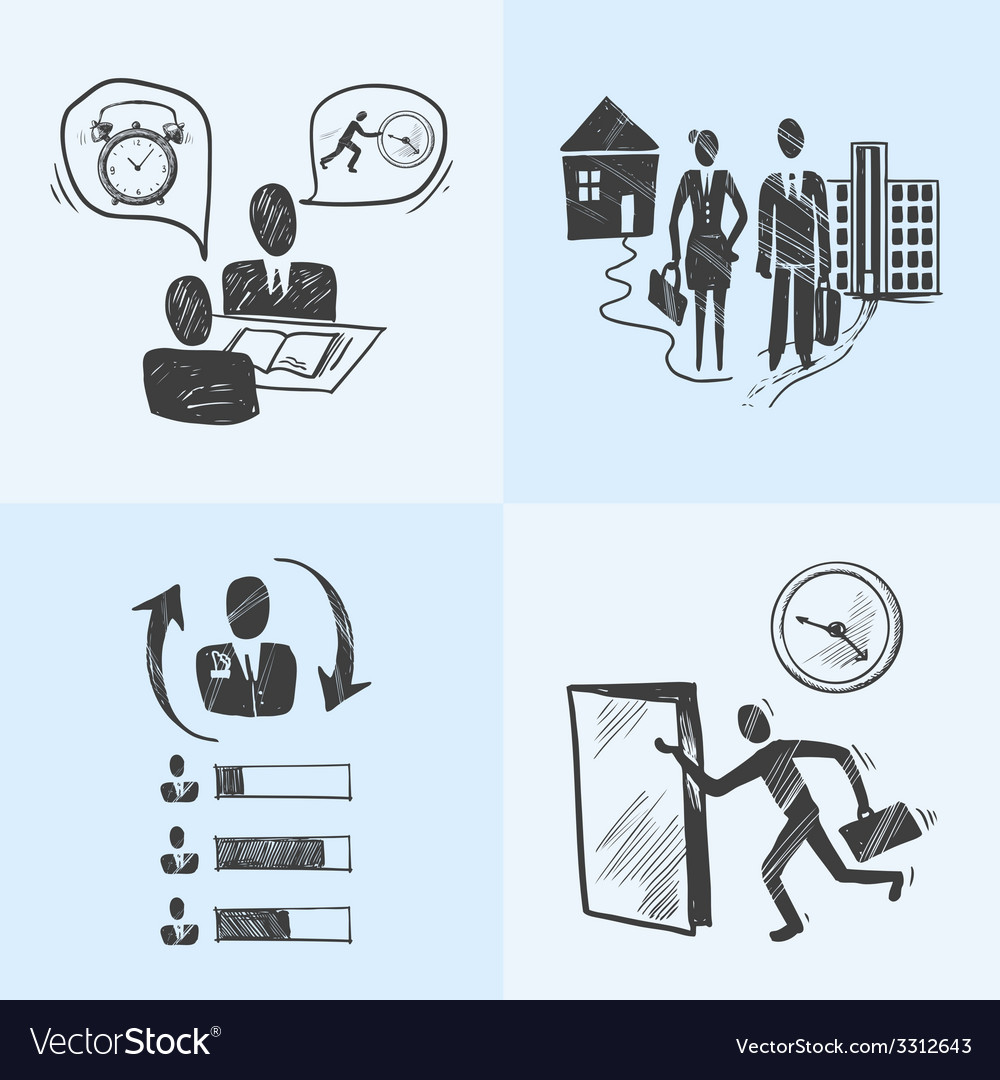 Office sketch design concept vector image