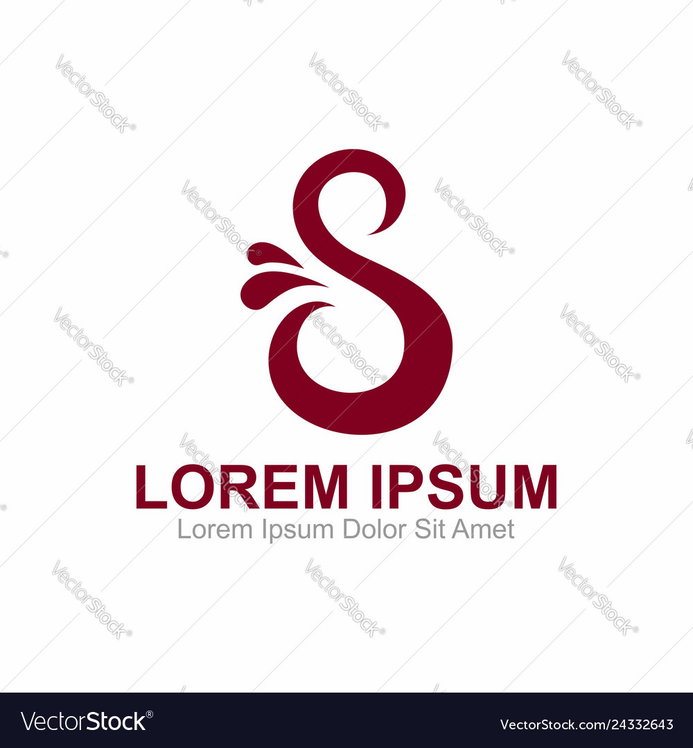 S letter with water logo template