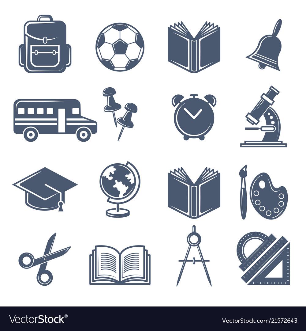 School symbols black icons set of school