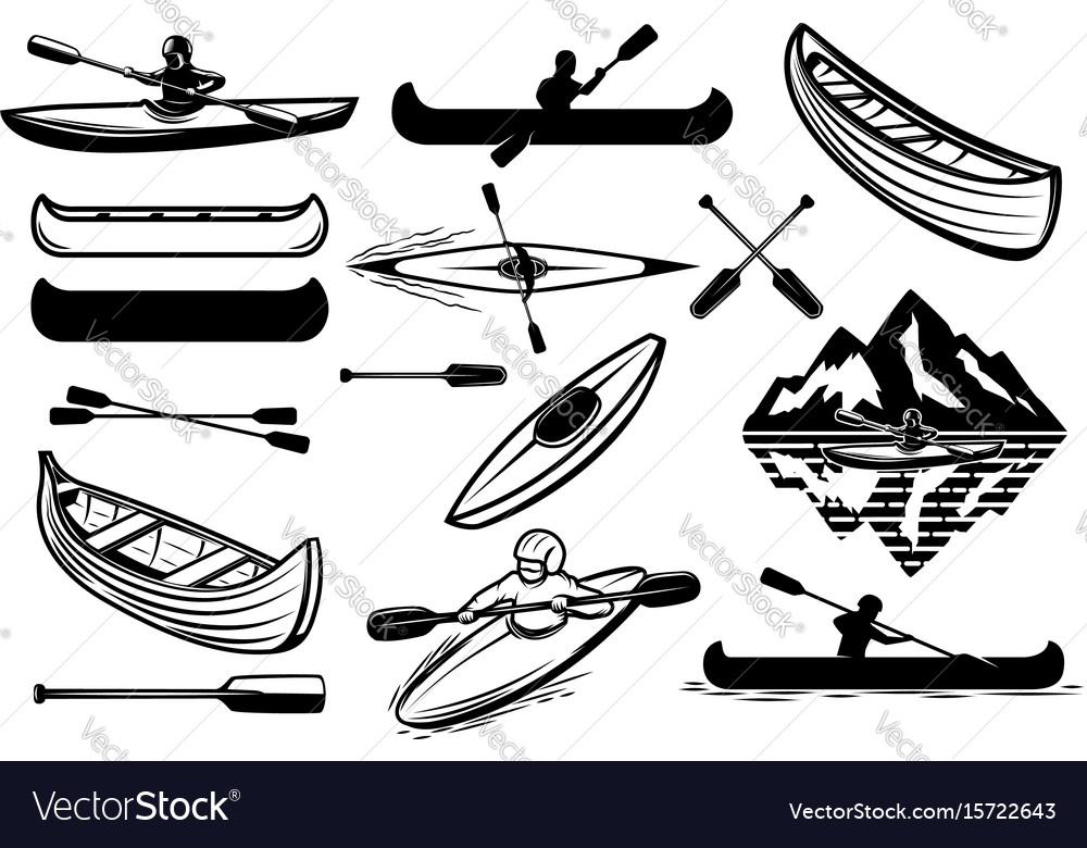 Set of the kayaking sport icons canoe boats