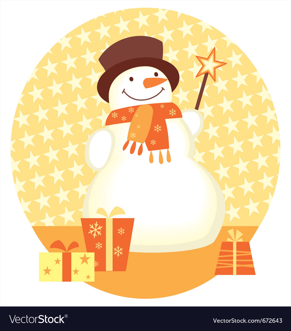 Snowman And Gift Box Template For Christmas Design