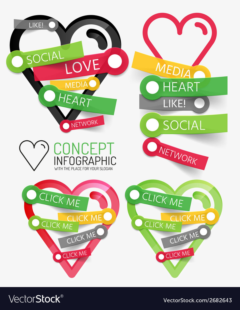 Social like heart infographic tags
