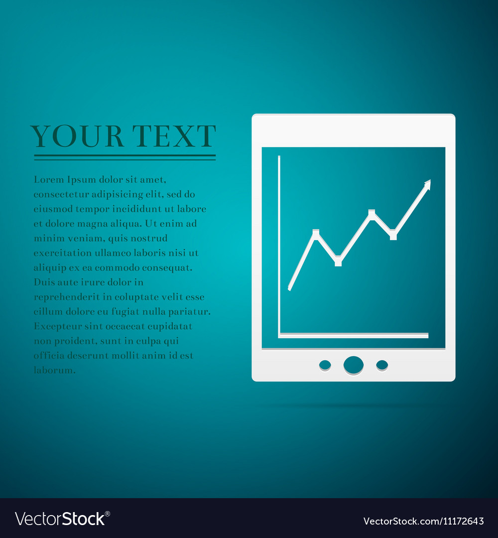 Tablet with business charts flat icon on blue