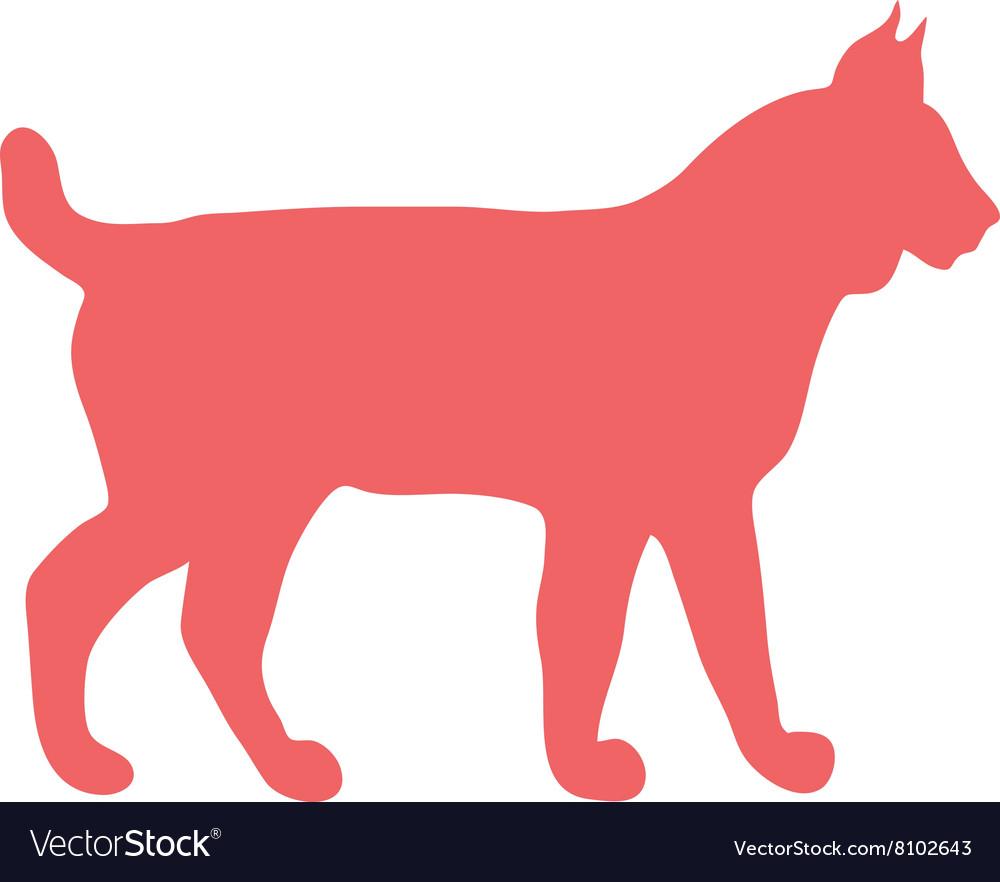 wild lynx cat animal flat silhouette royalty free vector