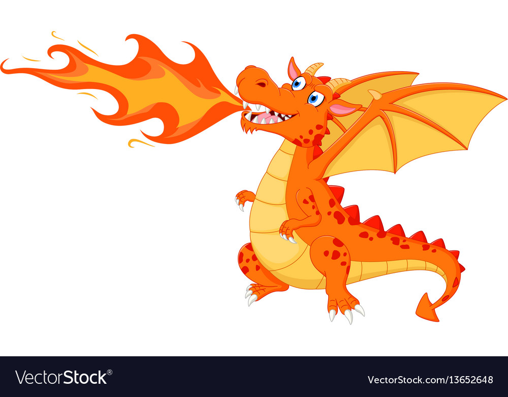 angry dragon with fire royalty free vector image