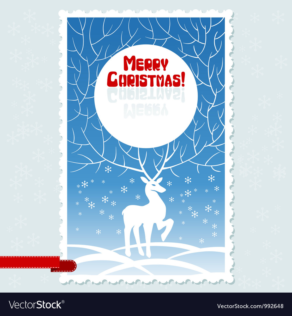 Christmas card with white stylized deer
