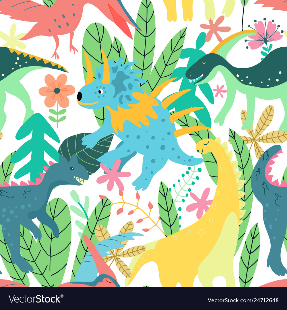 Colorful dinosaurs forest seamless pattern jungle