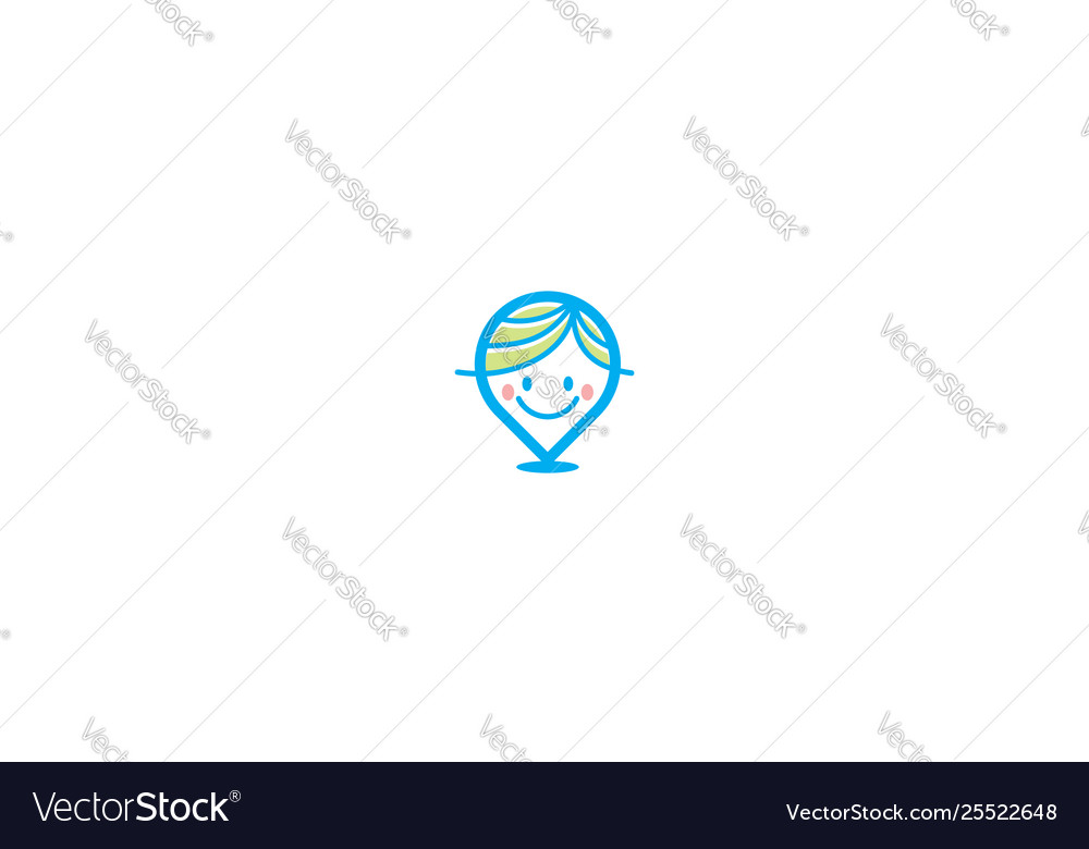 Cute kid logo pin icon