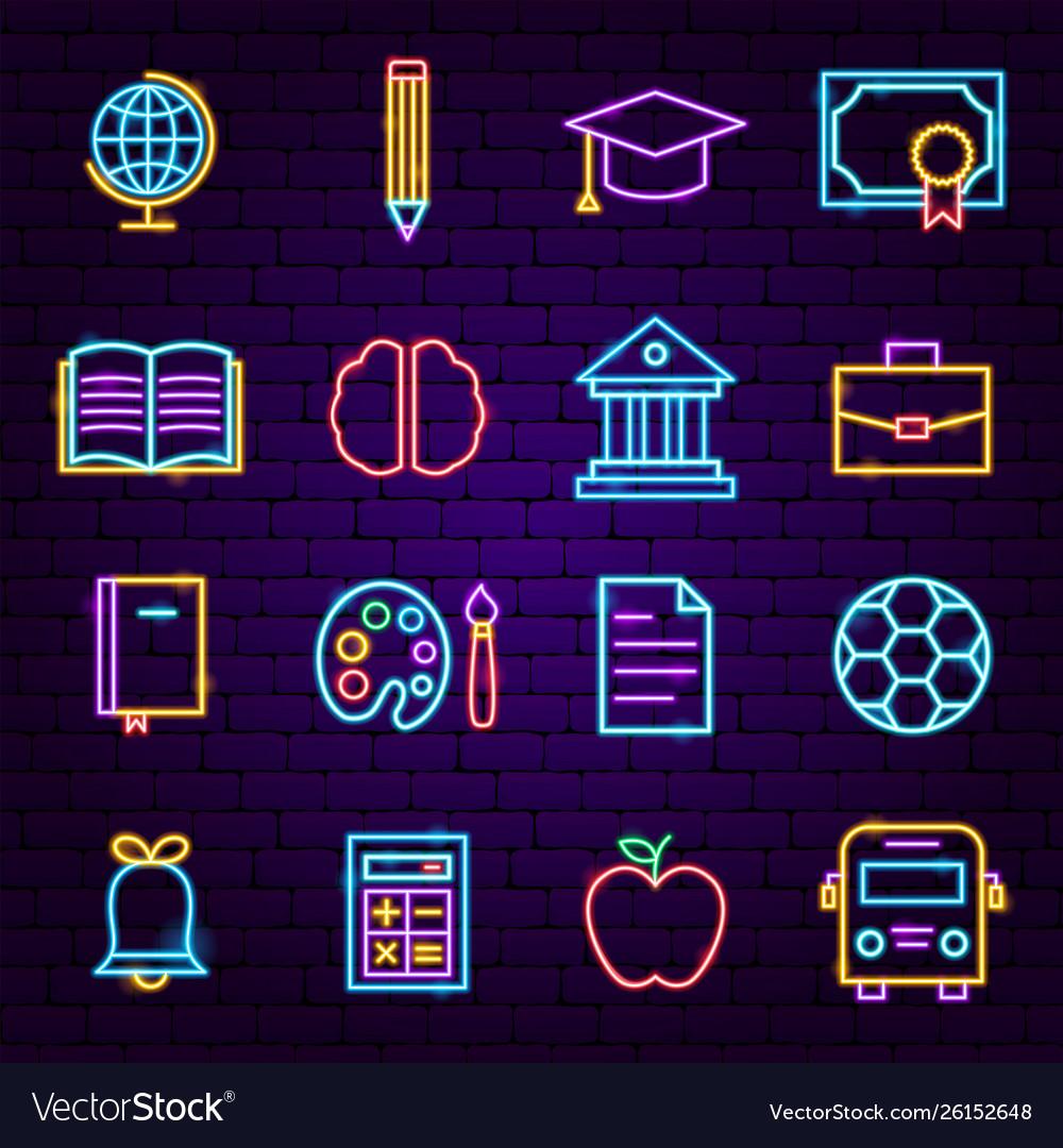 Education neon icons