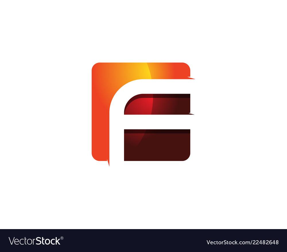 F 3d colorful square letter logo icon design