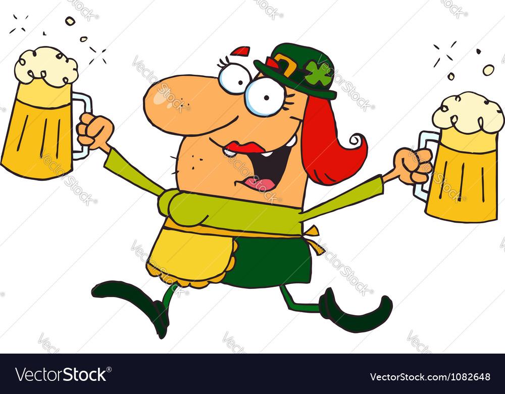 Female Leprechaun Running With Beers