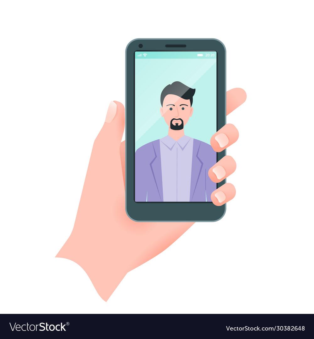 Flat guy taking self portrait human hand