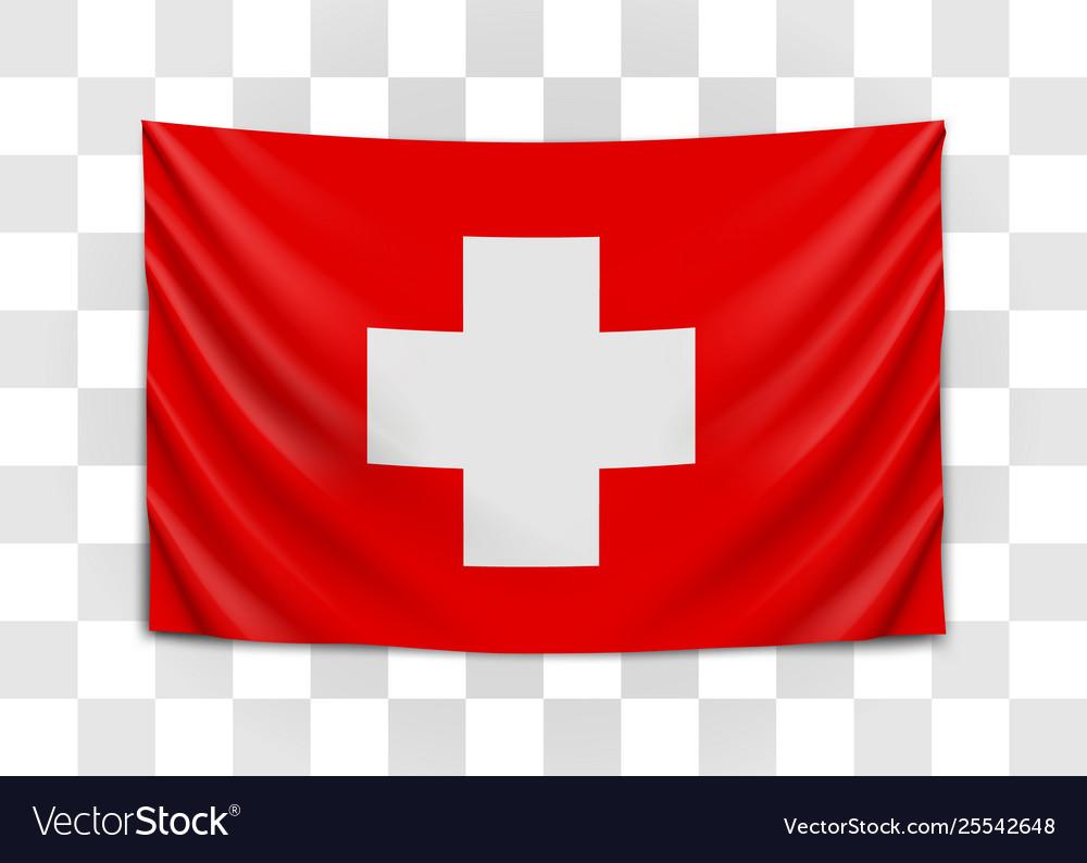 Hanging flag switzerland swiss confederation