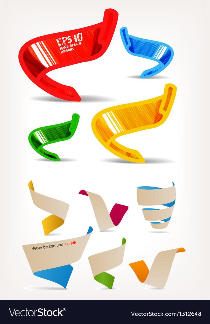 Mega set of colorful origami and handmade ribbons vector image