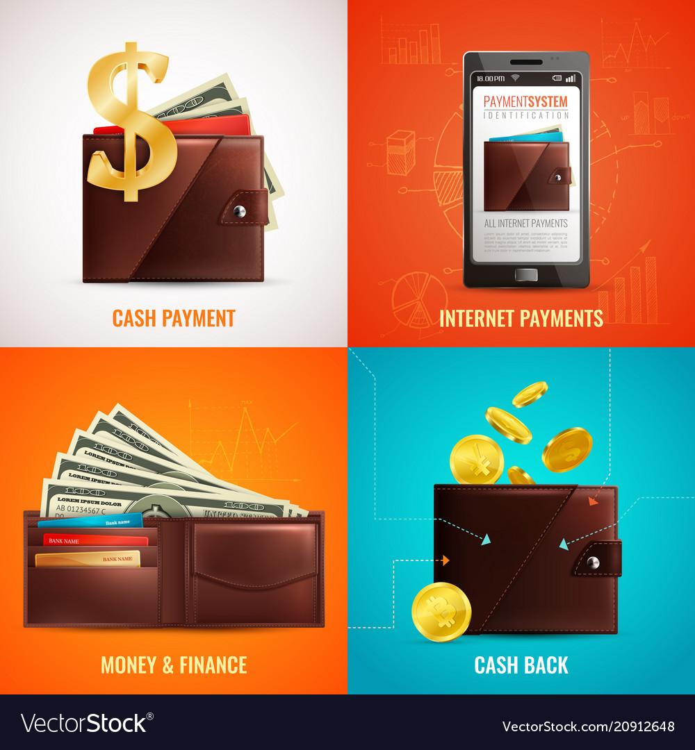 Realistic wallet design concept