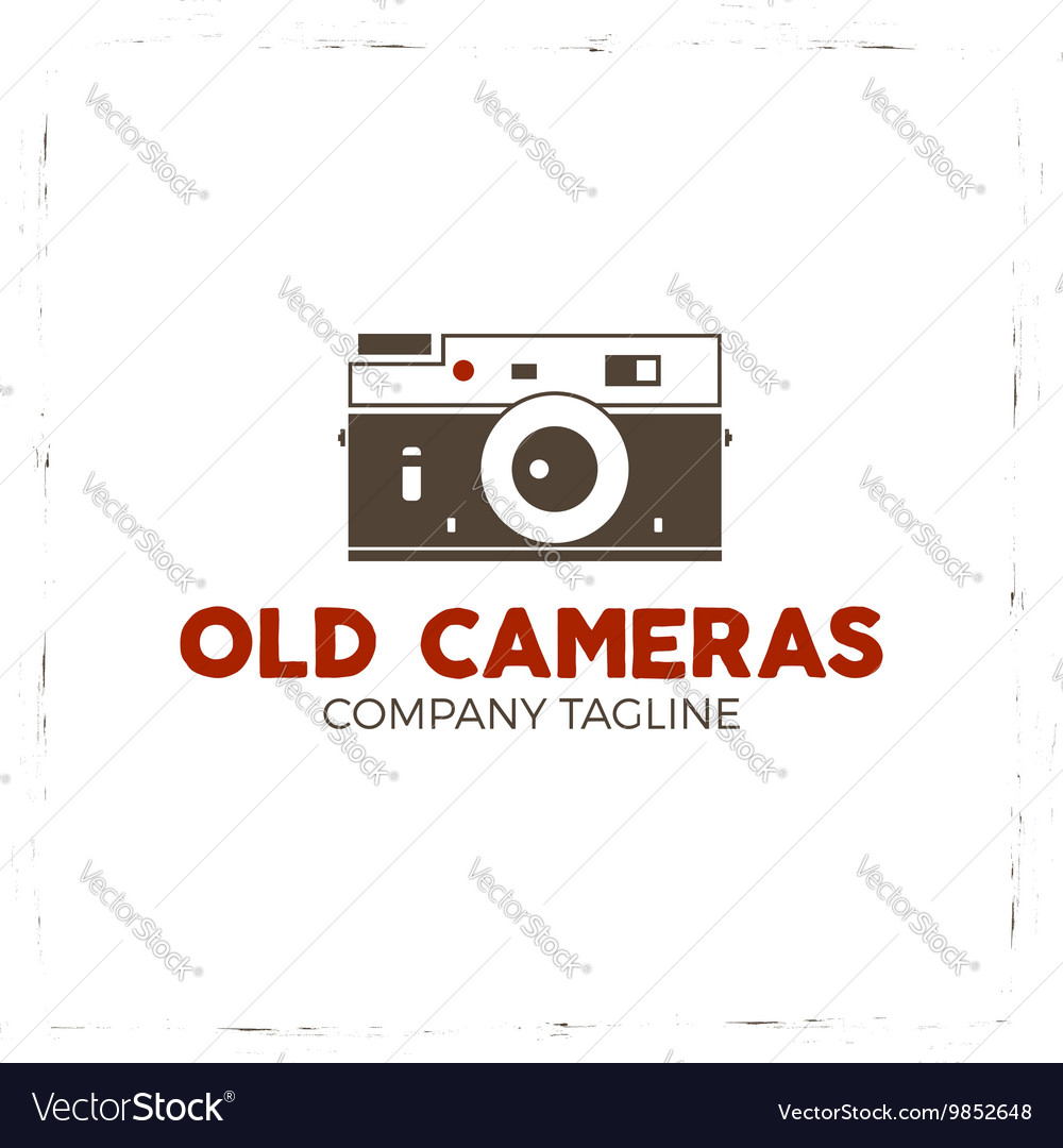 Retro poster or logo template with old camera icon