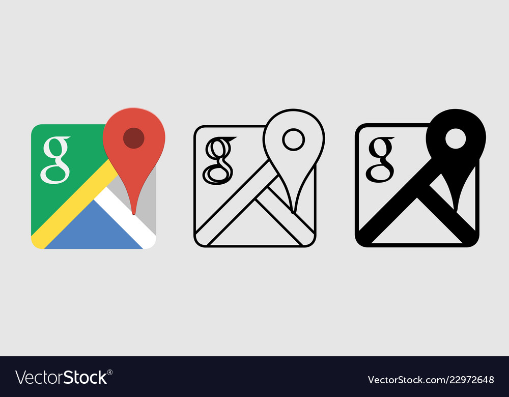 Social media icon set for google map in different
