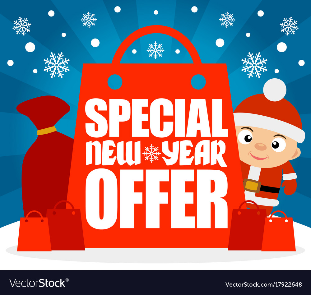 Special new year offer card with funny boy Vector Image
