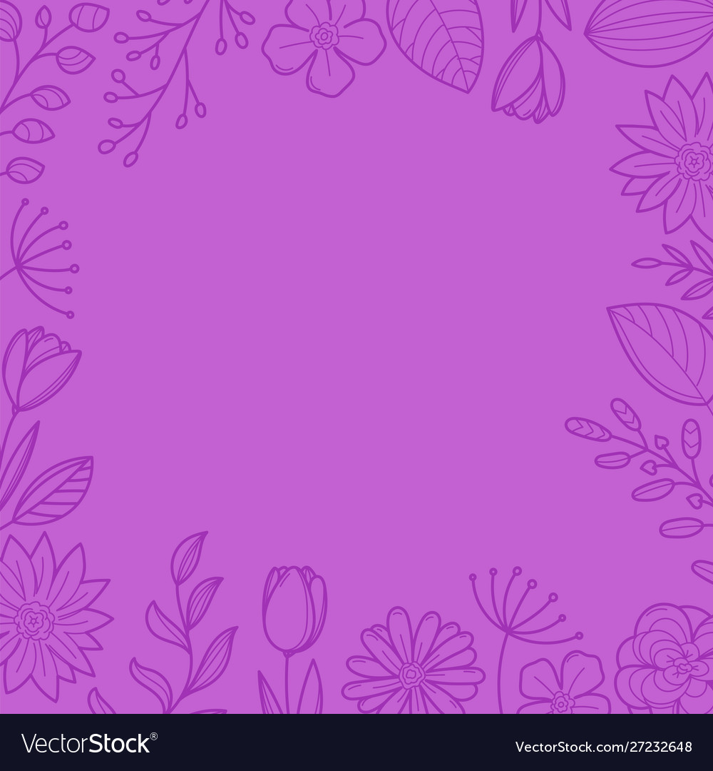 Violet floral frame background template for a text