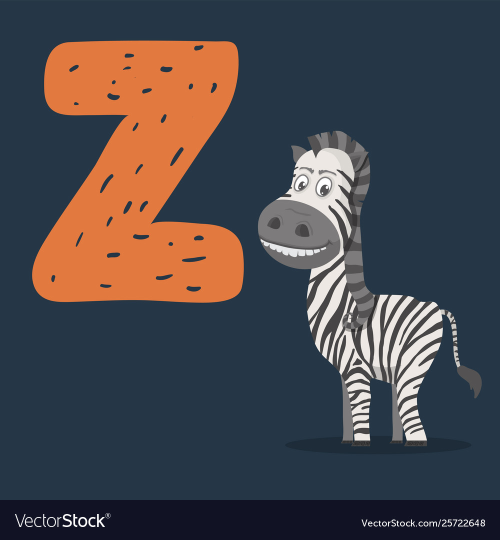 Zebra character with letter z