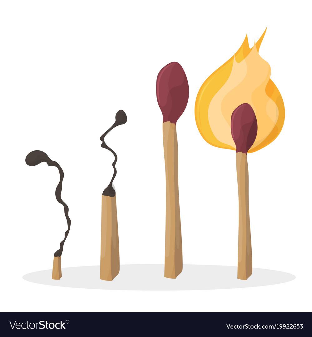 A set of cartoon matches burned match burning