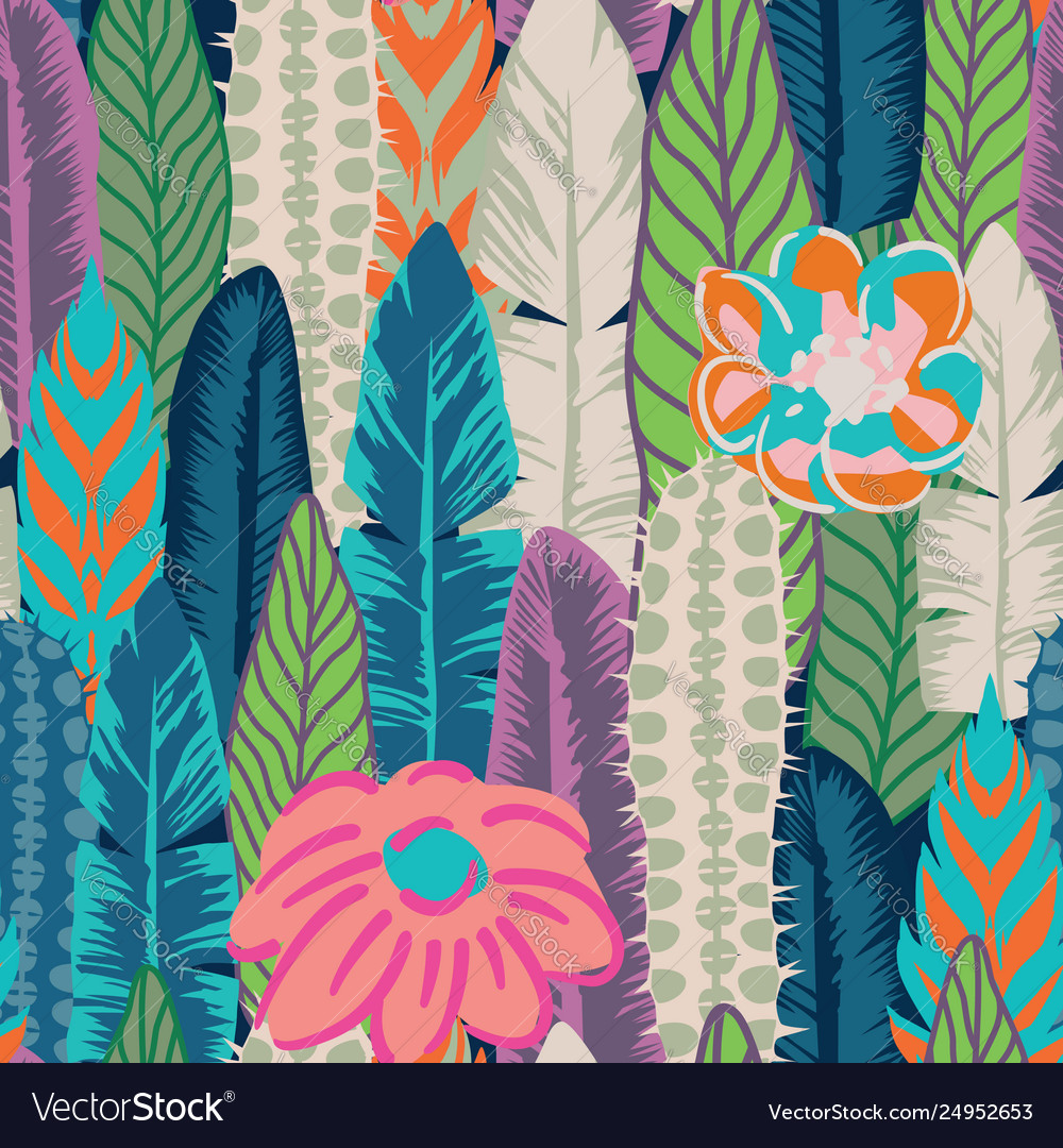 Abstract color seamless plants and flowers