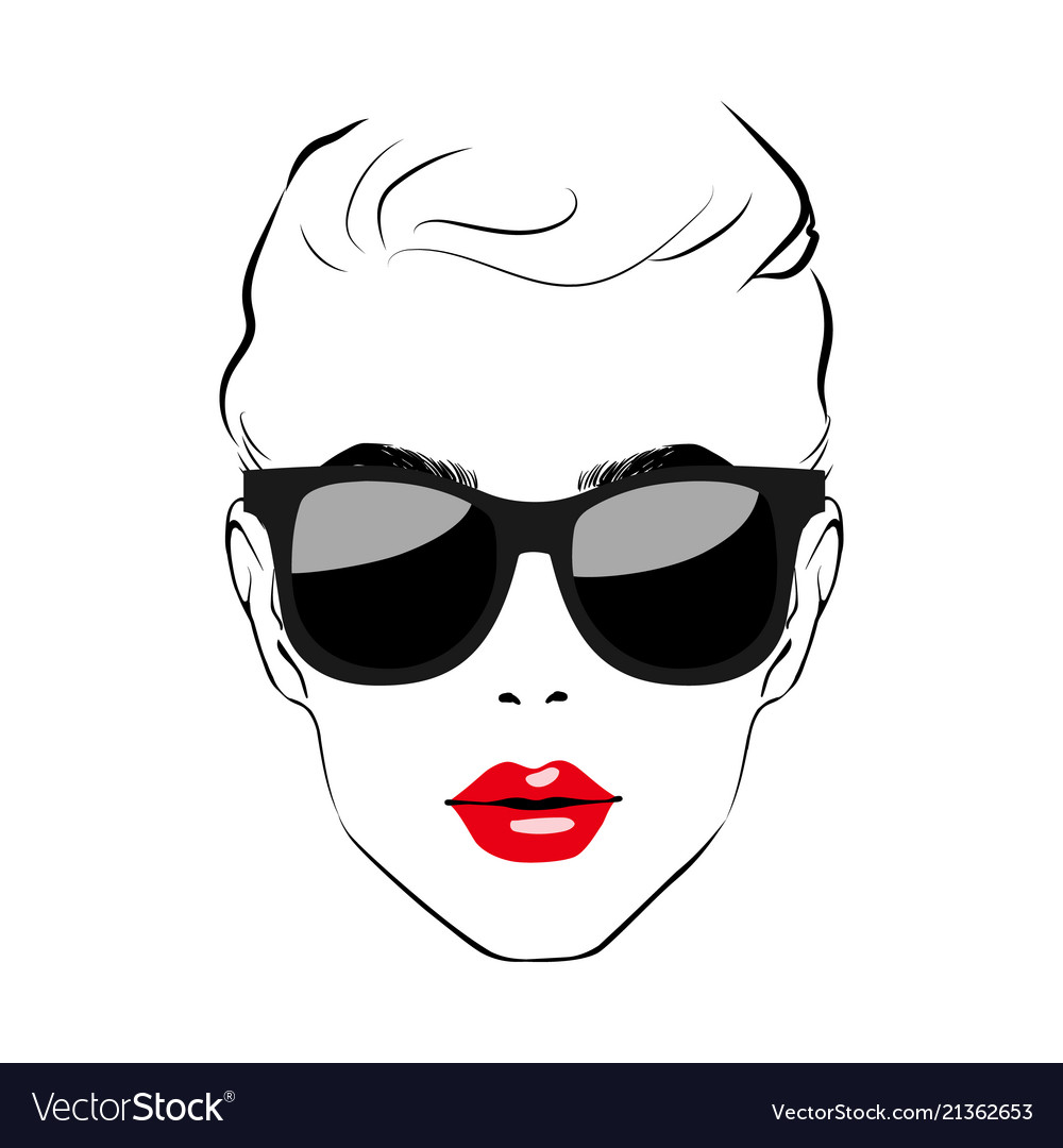 Beautiful women face with sunglasses art