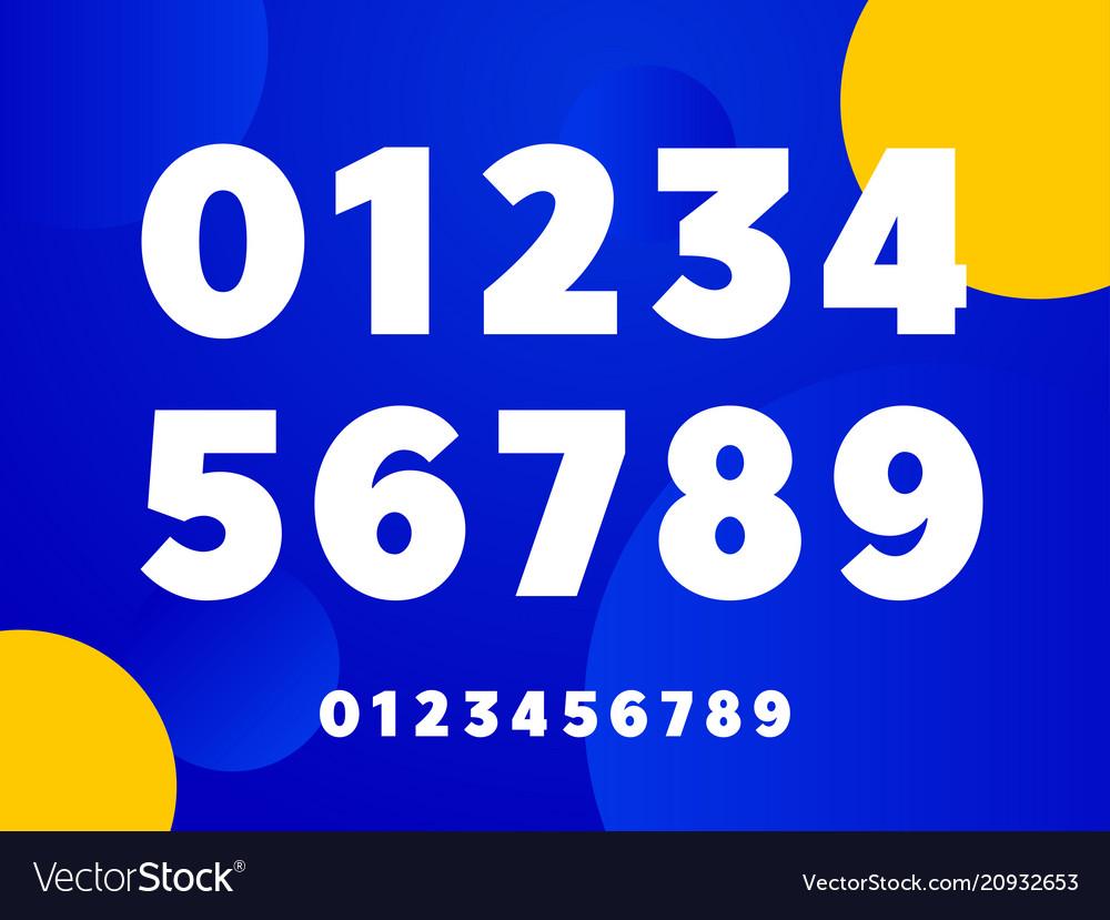 Bold sans serif style numbers set