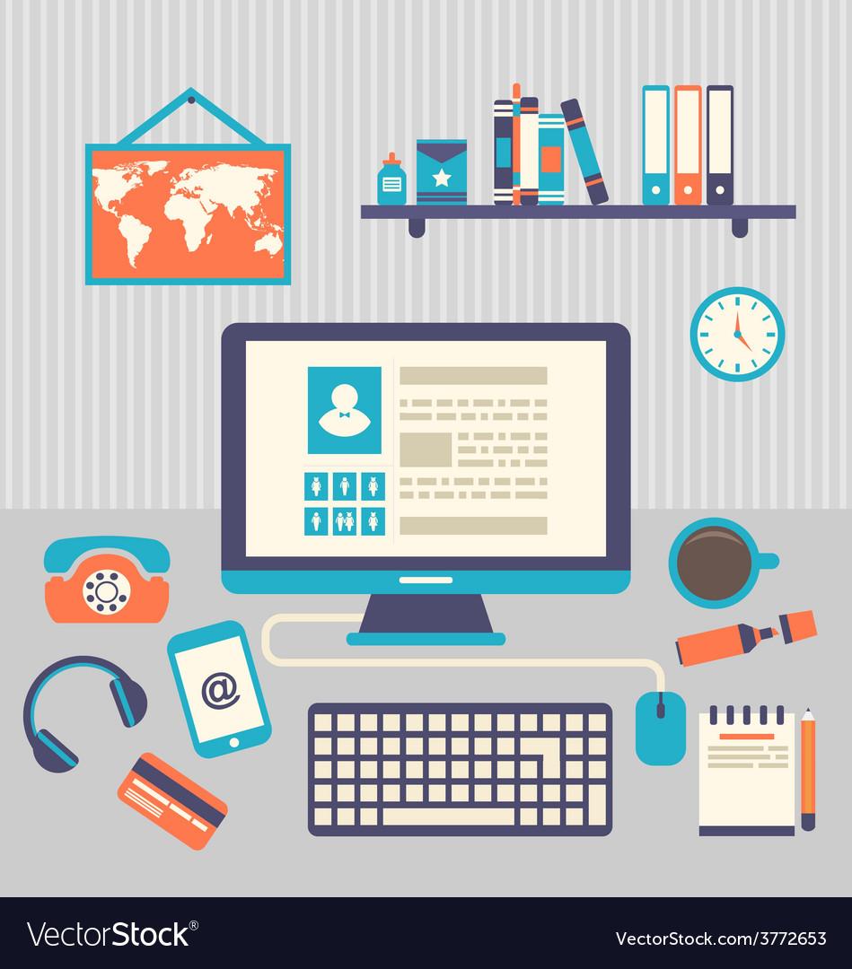 Flat design of modern creative office workspace