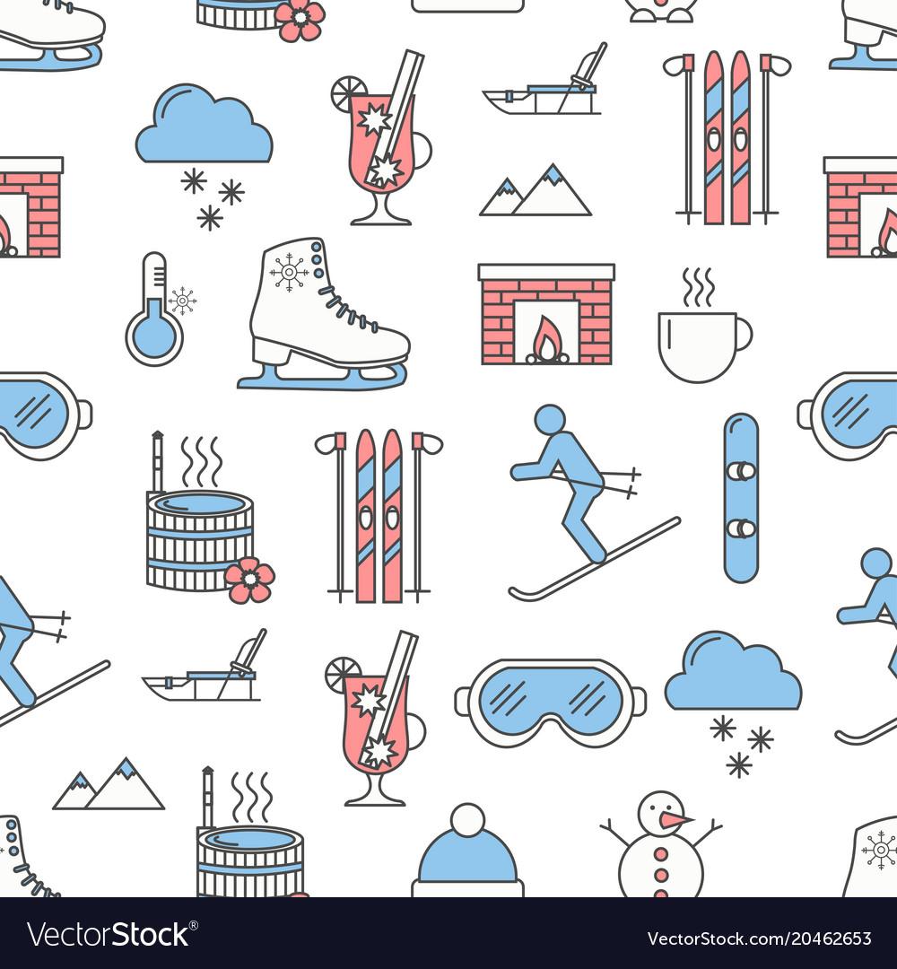 Flat line art winter seamless pattern vector image