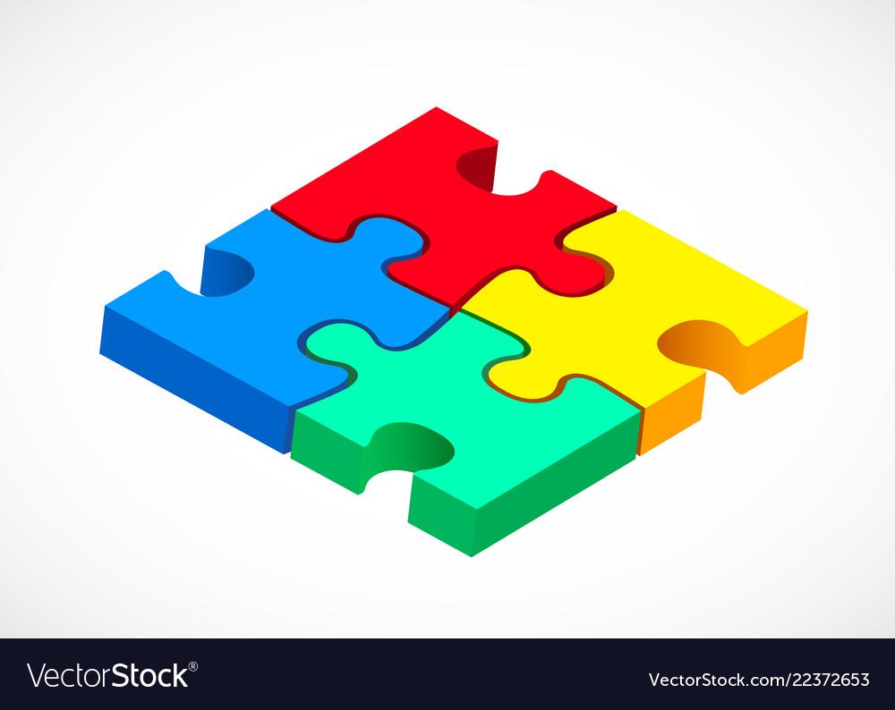 Four piece puzzle solution concept modern design