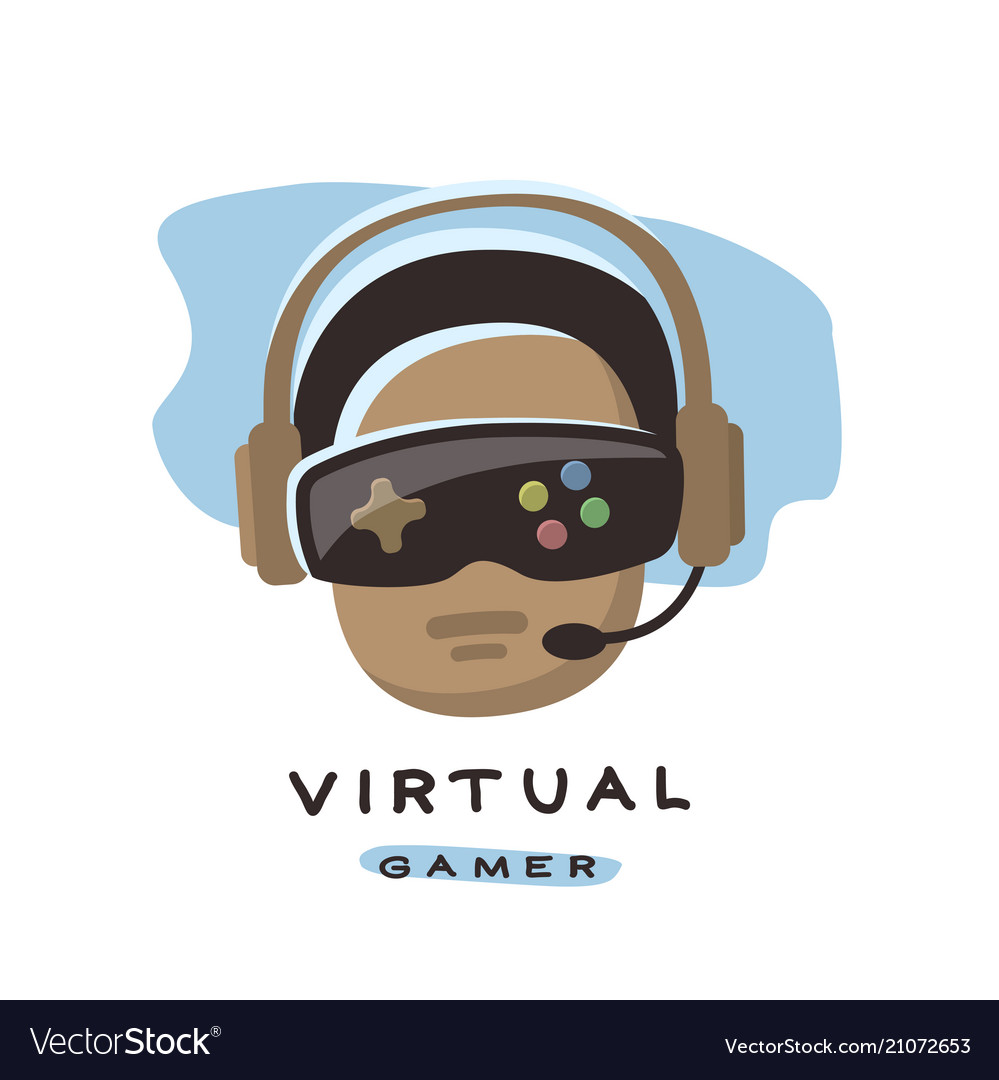 Gamer is playing in 3d virtual reality