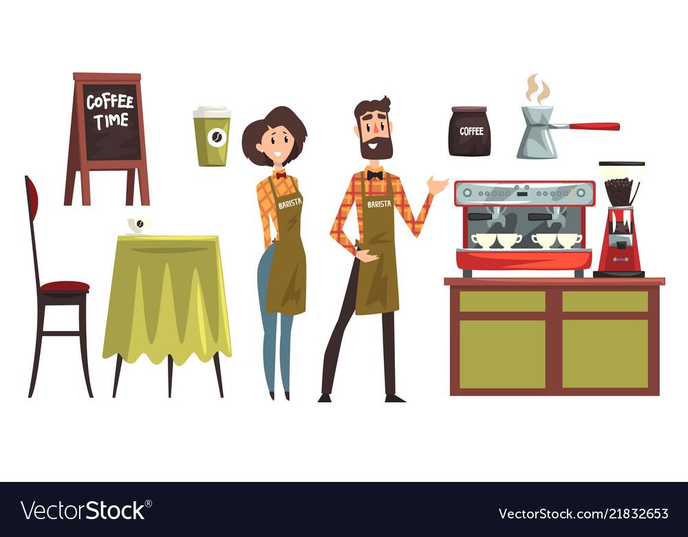 Happy man and woman barista wearing plaid shirts