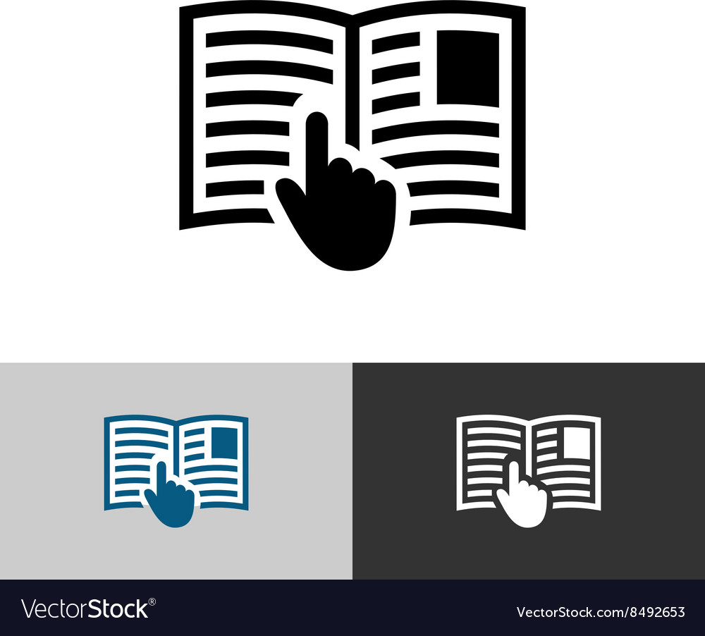 Instruction manual icon Open book pages with text vector image