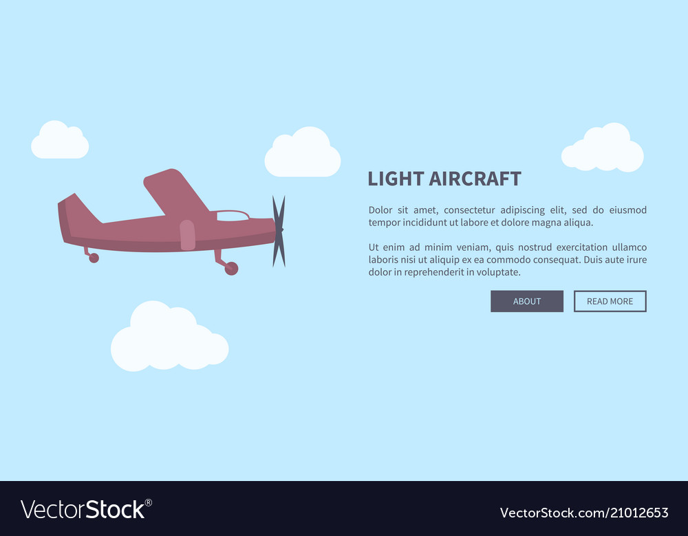 Light aircraft closeup of airplane in color banner