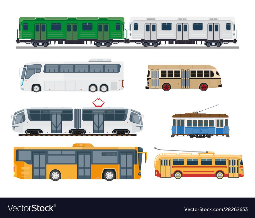 Railroad trains and streetcars public